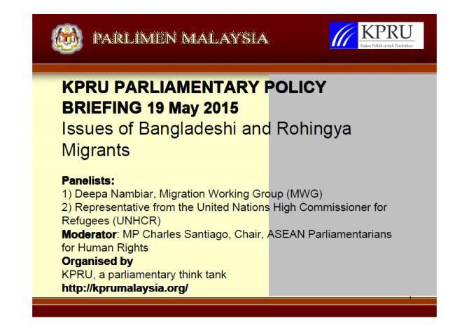 KPRU Parliamentary Briefing 19 May 2015